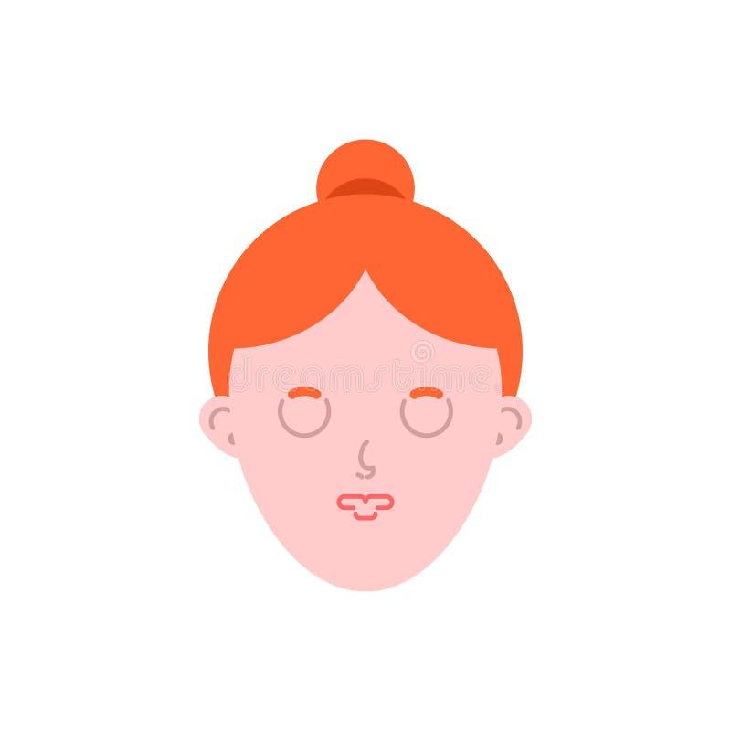Woman sleeping face isolated. Female asleep. Vector illustration.  royalty free illustration