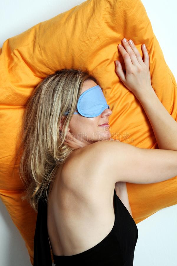 Woman Sleeping In A Mask Royalty Free Stock Photography