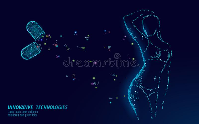 Woman slim shape silhouette low poly. Fitness beauty girl graceful body. Weigh lose nutrition supplement banner template. Vector illustration art stock illustration