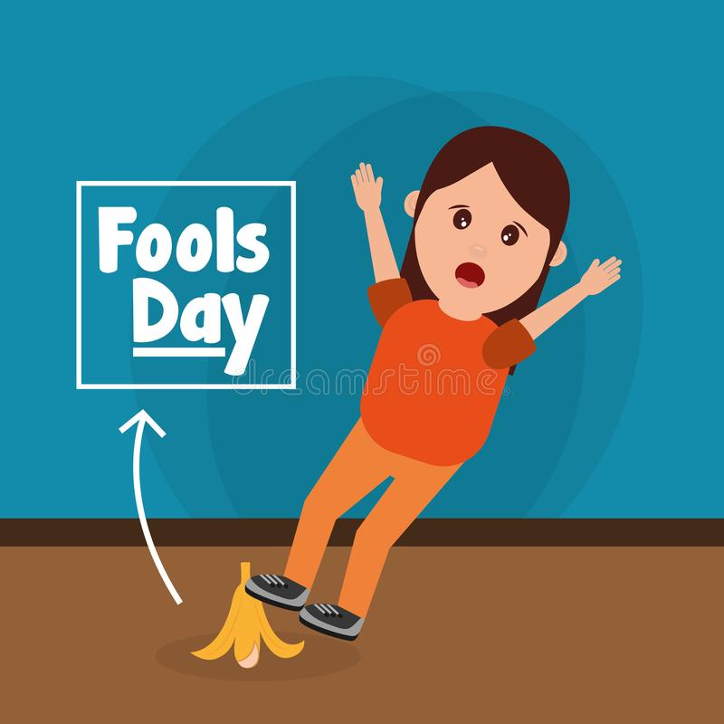 Woman slips with banana peel fools day prank. Vector illustration stock illustration