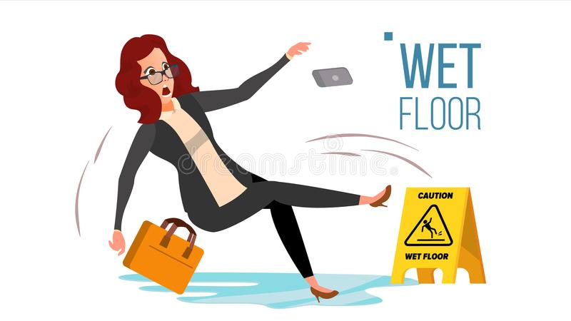 Woman Slips On Wet Floor Vector. Modern Business Woman In Office. Danger Situation. In Action. Clean Wet Floor. Isolated. Woman Slips On Wet Floor Vector royalty free illustration