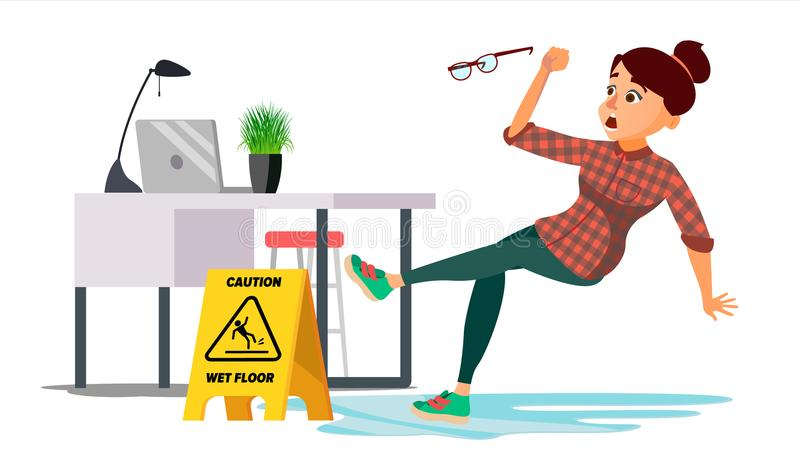 Woman Slips On Wet Floor Vector. Caution Sign. Isolated Flat Cartoon Character Illustration. Woman Slips On Wet Floor Vector. Modern Business Woman In Office royalty free illustration