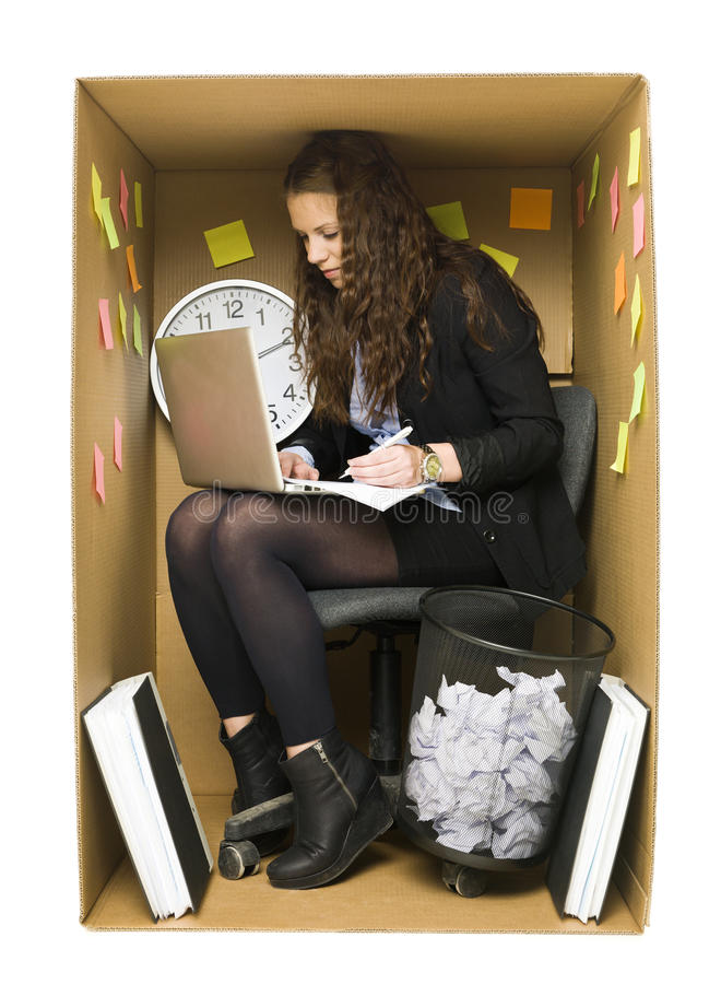 Woman In A Small Office Royalty Free Stock Images