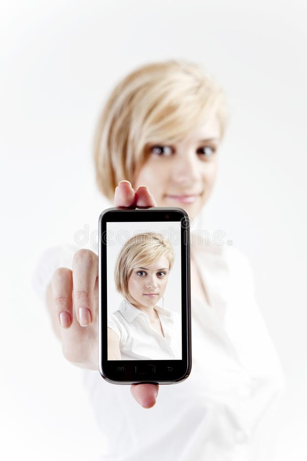 Download Woman with smart phone stock image. Image of friendly - 24496357