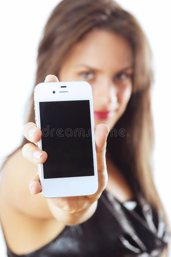 Woman with smart phone. Young woman holding smart phone