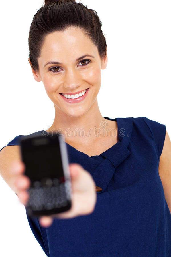Woman smart phone royalty free stock images