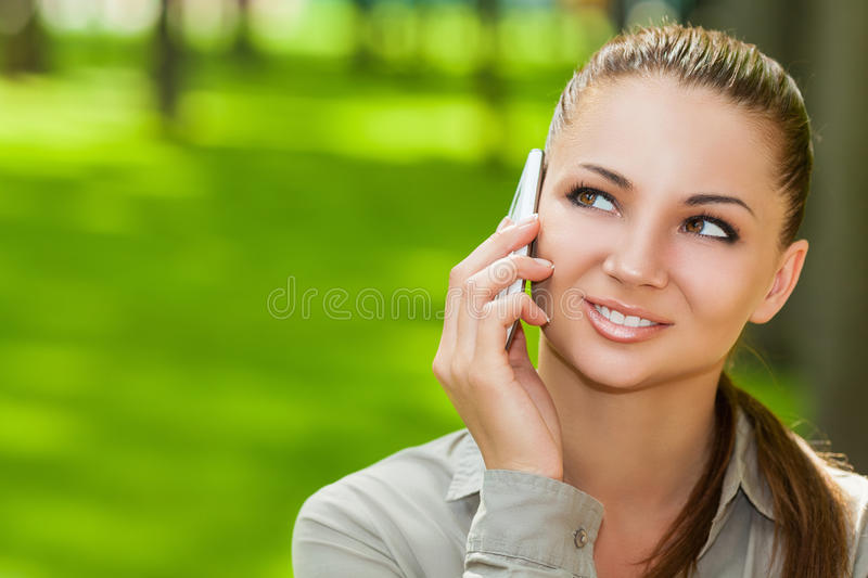 Woman with smartphone royalty free stock photography