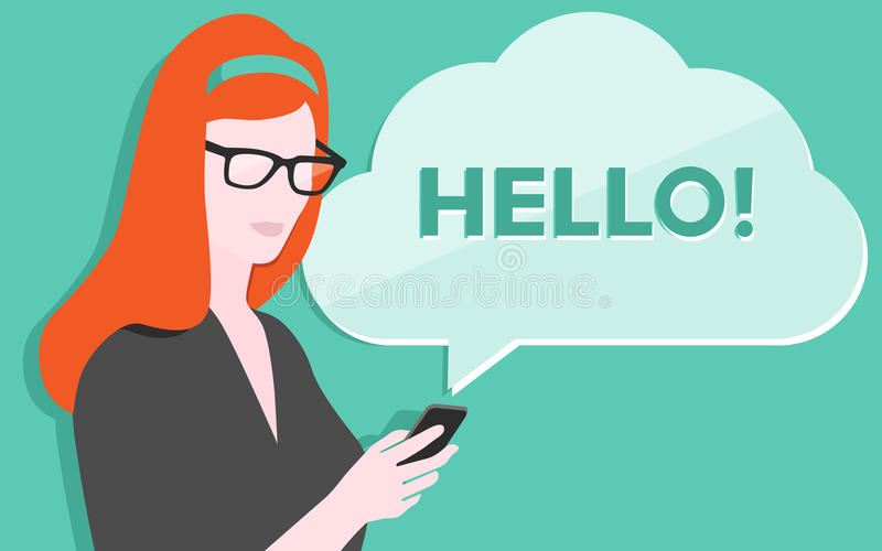 Woman with smartphone illustration royalty free illustration