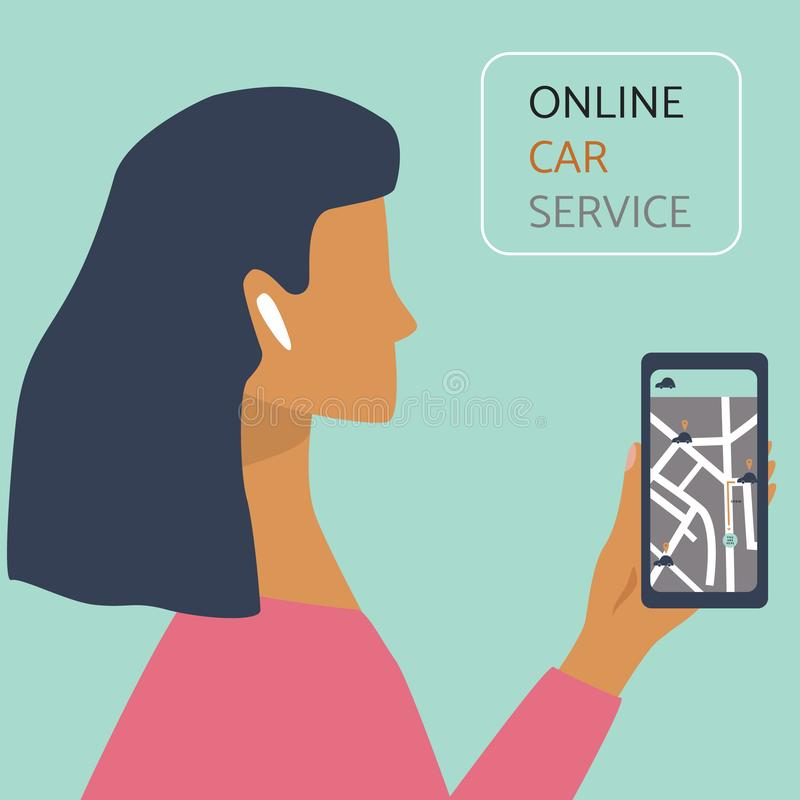 Woman with smartphone ordering a taxi by online car service. Car sharing concept for banner, web, mobile application royalty free illustration