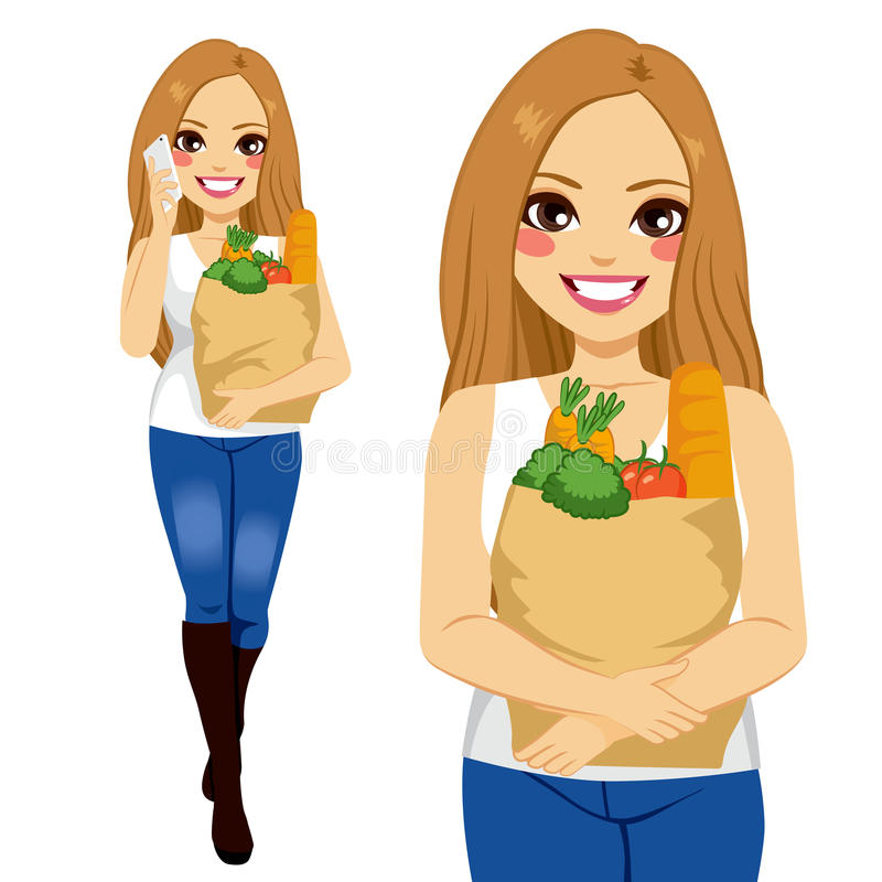 Woman With Smartphone Shopping Groceries royalty free illustration