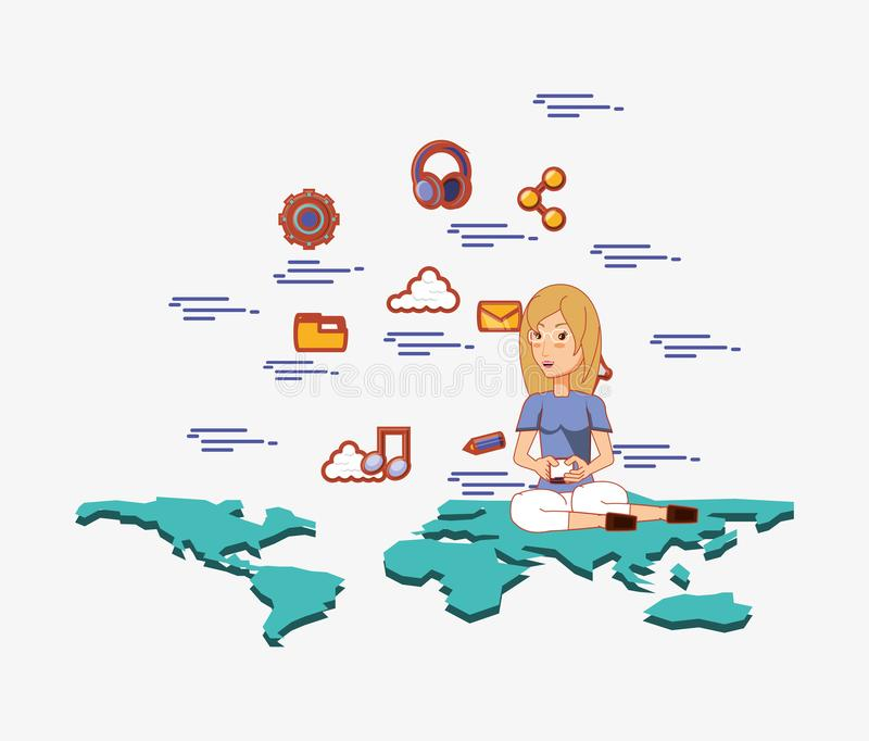 Woman with smartphone sitting on world map social media royalty free illustration