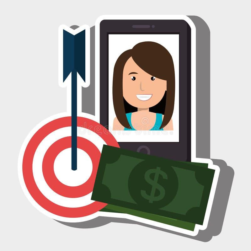 Woman smartphone target money bills. Illustration eps 10 vector illustration