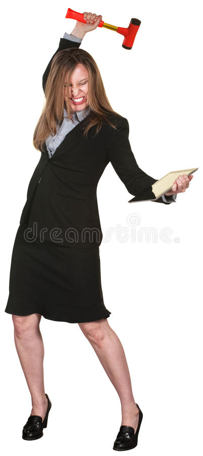 Woman Smashes Tablet Royalty Free Stock Image
