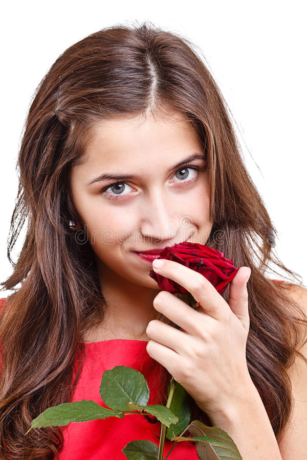 Download Woman Smell Rose Royalty Free Stock Images - Image: 27573969