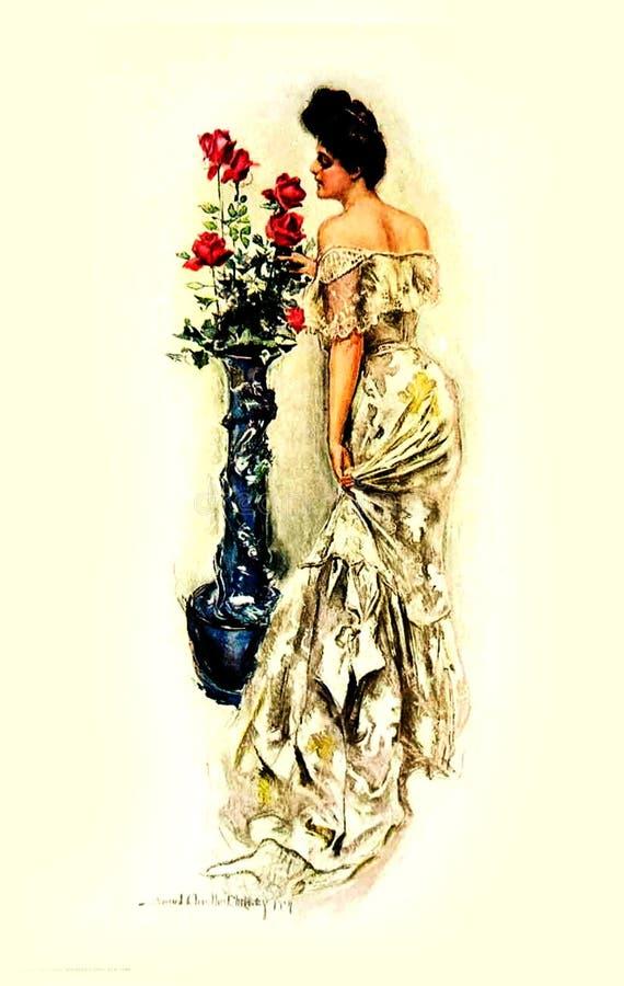 1906 Woman Smelling Flower Free Public Domain Cc0 Image