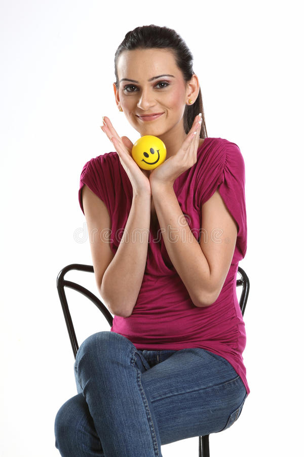 Download Woman with smile ball stock photo. Image of pink, chair - 14692740