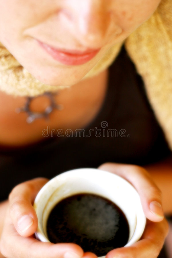 Woman smile and coffee royalty free stock photography