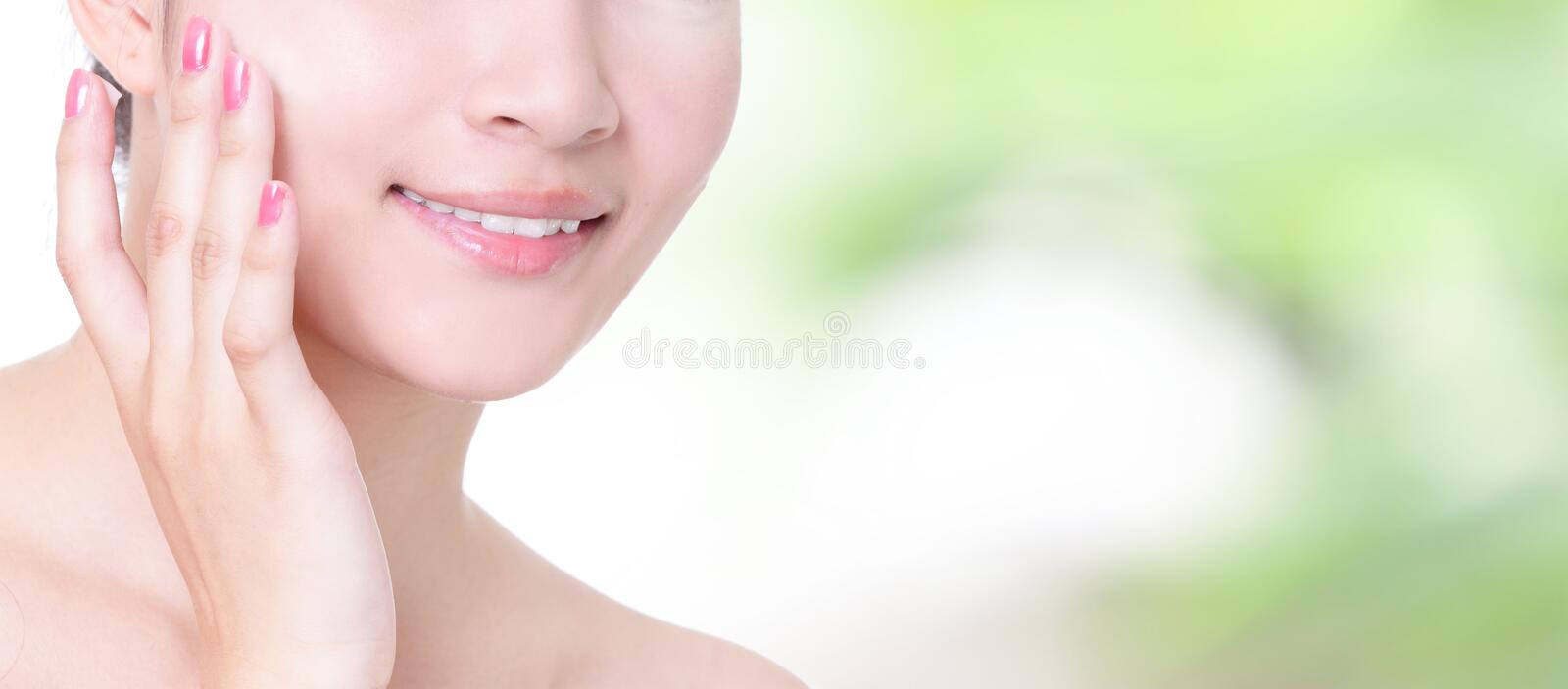 Woman smile mouth with health teeth close up royalty free stock images
