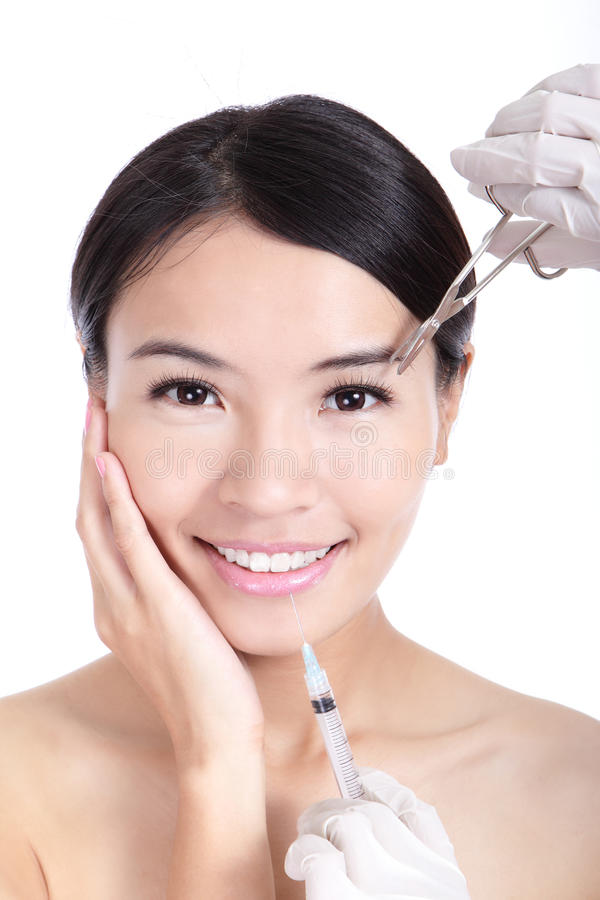 Download Woman Smile Receiving A Injection In Her Lip Stock Image - Image: 24568185