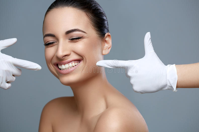 Woman smile. Teeth whitening. Dental care. stock photos