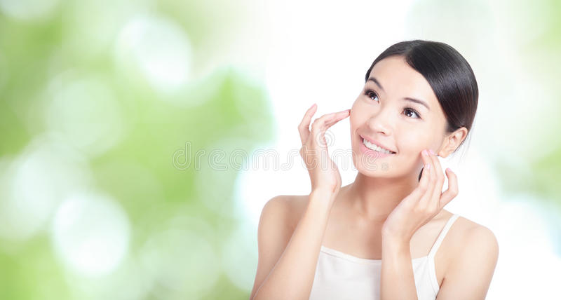 Download Woman Smile And Touch Face Look Up Forward Stock Photo - Image: 24683364