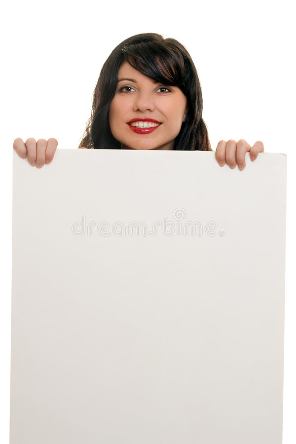Woman smiling with advertising sign royalty free stock image