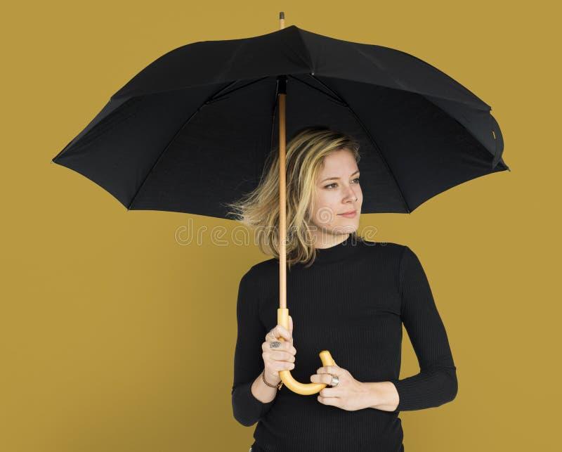 Woman Smiling Happiness Umbrella Portrait Concept stock photos