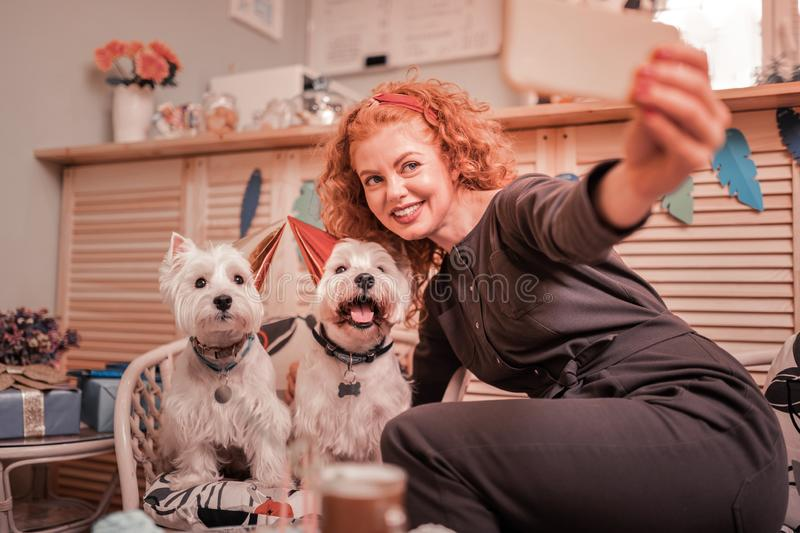 Woman smiling while making photo with birthday dogs stock images