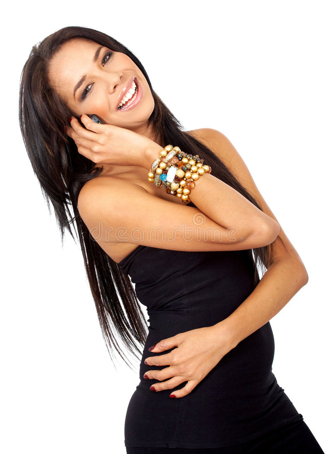 Download Woman smiling on the phone stock photo. Image of smile - 4764562