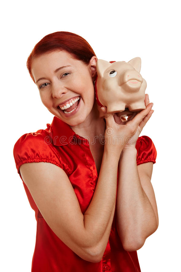 Download Woman Smiling With Piggy Bank Stock Image - Image: 20863757