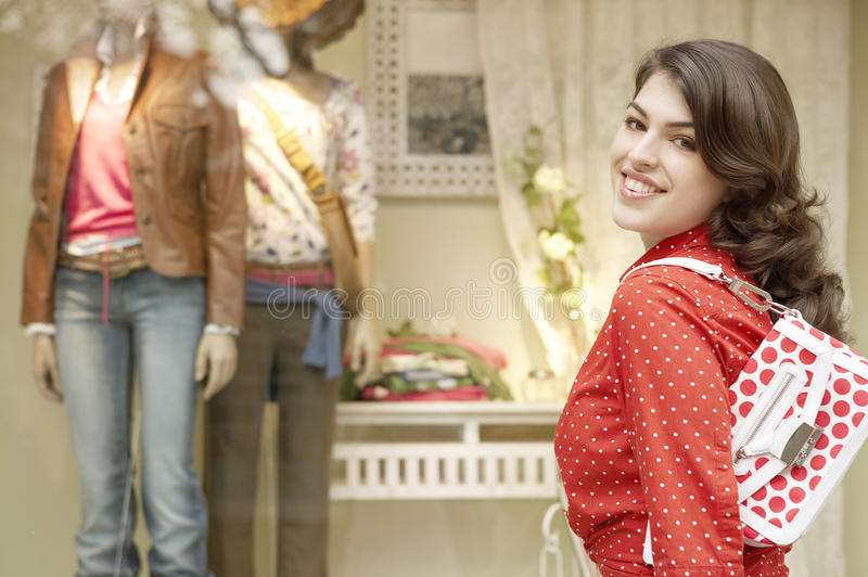 Woman Smiling At Store royalty free stock images