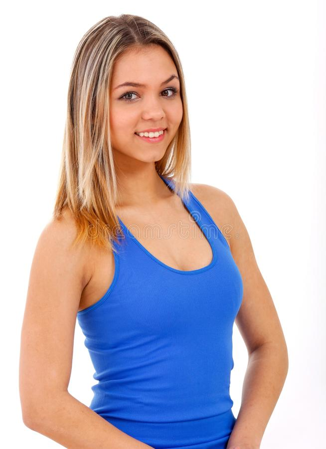 Woman Smiling While Wearing Blue Tank Top Free Public Domain Cc0 Image