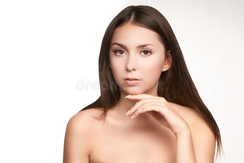 Woman smooth dermatology care. Anti age lifting. Pretty beautiful girl peeling royalty free stock image