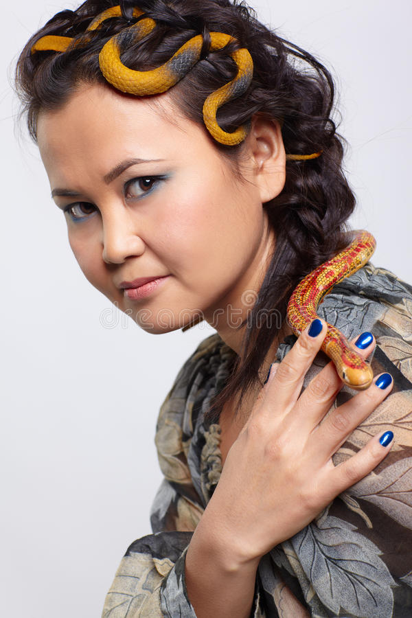 Download Woman with snake stock image. Image of hairdo, hairstyle - 20950355