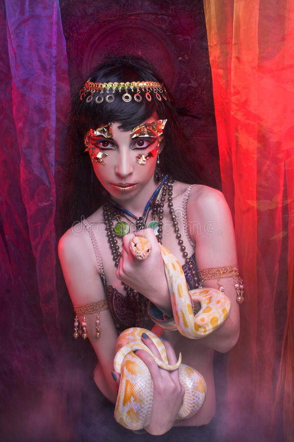 Download Woman with snake. stock image. Image of arabic, carnival - 37759373