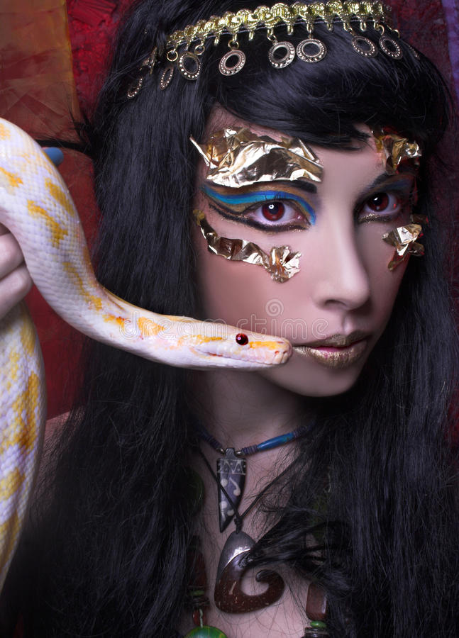 Download Woman with snake. stock image. Image of model, magic - 39846977