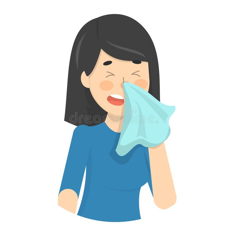Woman sneeze. Ill girl in a fever. Flu or cold symptom. Idea of illness and healthcare. Flat vector illustration stock illustration