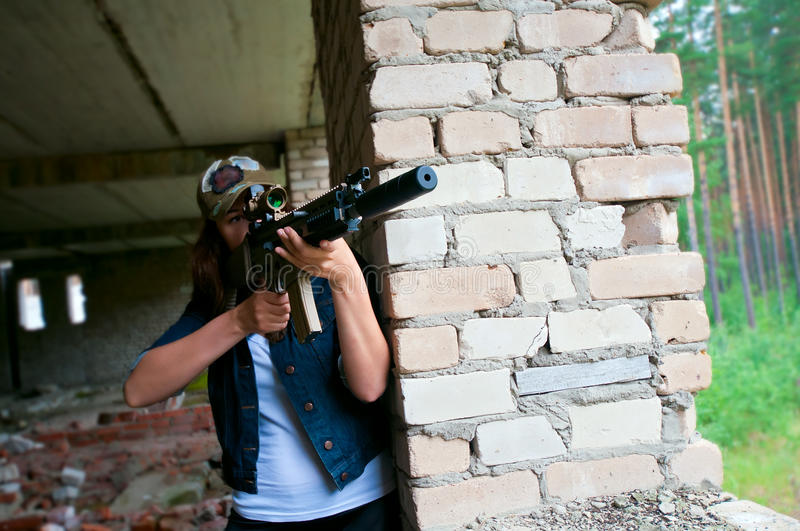 Download Woman with a sniper rifle stock photo. Image of girl - 20287660