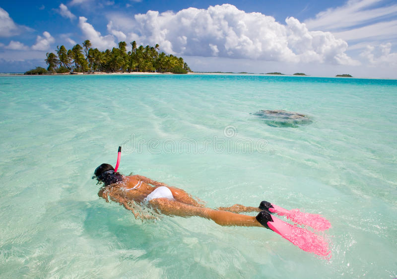 Woman snorkeler royalty free stock images