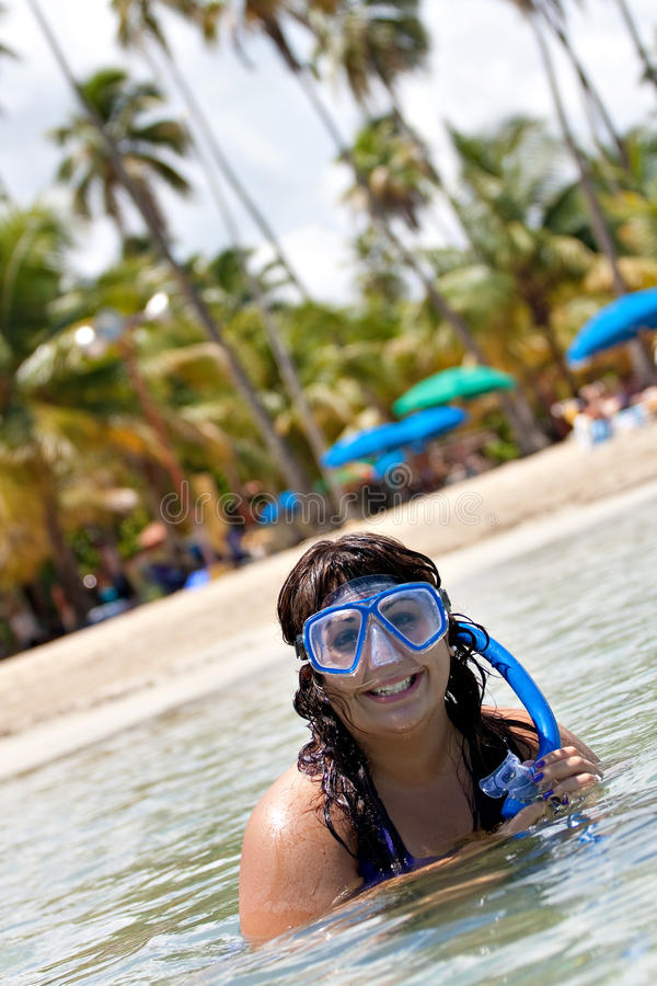 Download Woman Snorkeling stock photo. Image of relaxation, island - 16252328