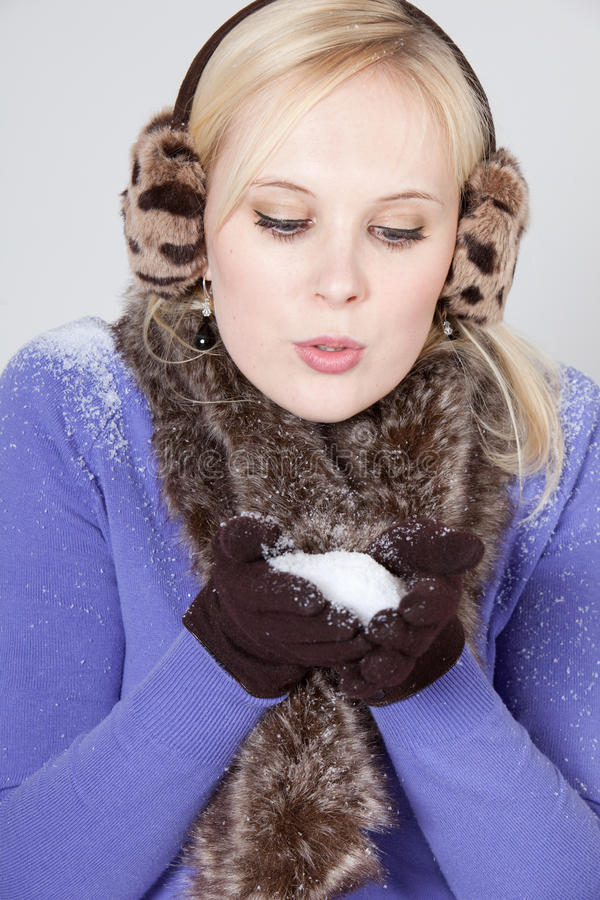 Download Woman with snow stock image. Image of christmas, holiday - 12601995