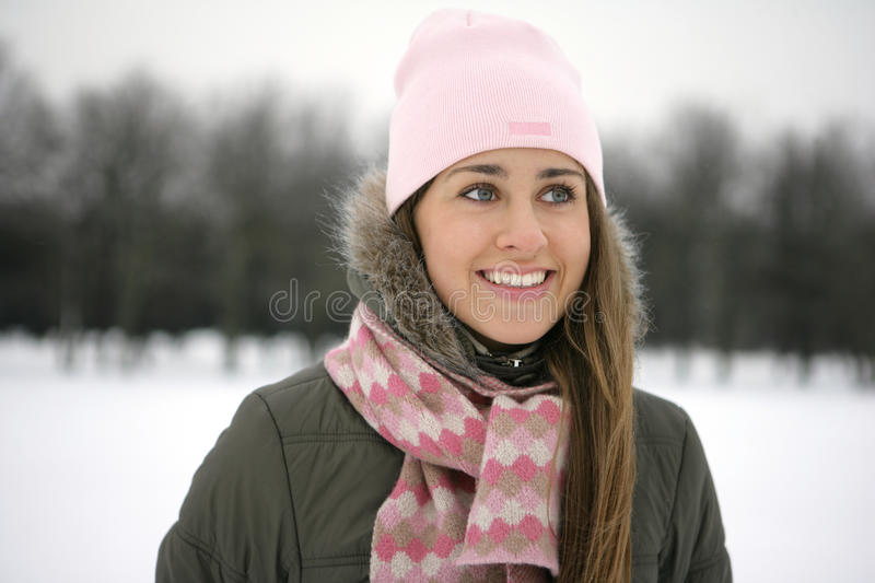 Woman in Snow stock images