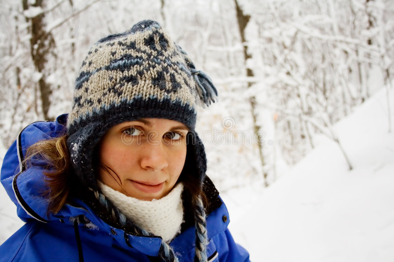Download A woman in the snow stock image. Image of closeup, fashion - 528907