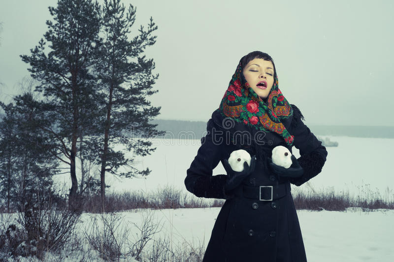 Download Woman with snow-balls stock image. Image of holiday, gloves - 26044321