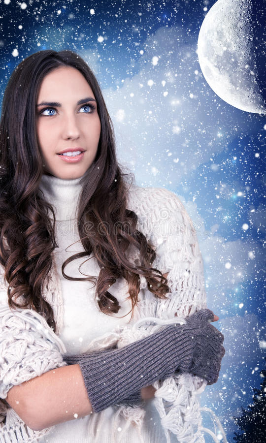 Download Woman, Snow, Night, Moon Stock Images - Image: 17410904