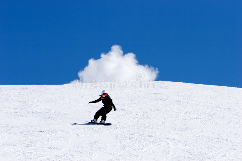 Woman snowboarding on slopes of Pradollano ski resort in Spain royalty free stock photography