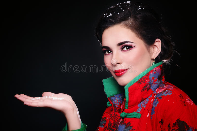 Download Woman with snowflakes stock image. Image of female, make - 18021277