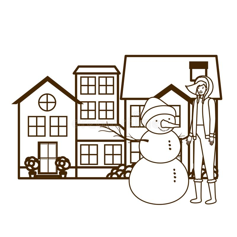 Woman with snowman outside of the house stock illustration