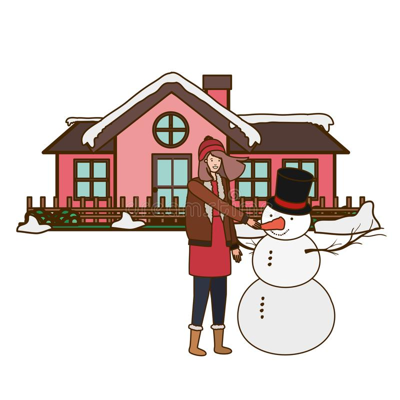 Woman with snowman outside of the house royalty free illustration