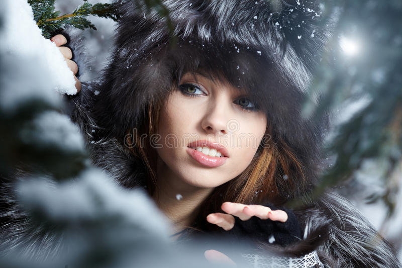 Download Woman In Snowy Winter Outdoors Stock Image - Image of attractive, caucasian: 18068257